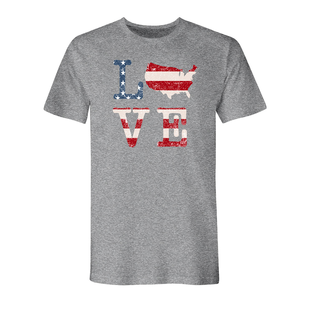 Love America Men's Athletic Heather Made In America T-Shirt - the flag shirt