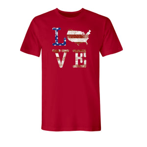 Love USA Men's Made In America Red T-Shirt - the flag shirt