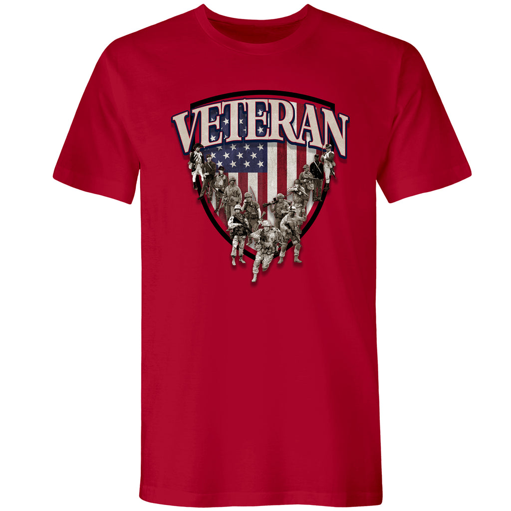Men's Veteran Shield Tee Red - the flag shirt