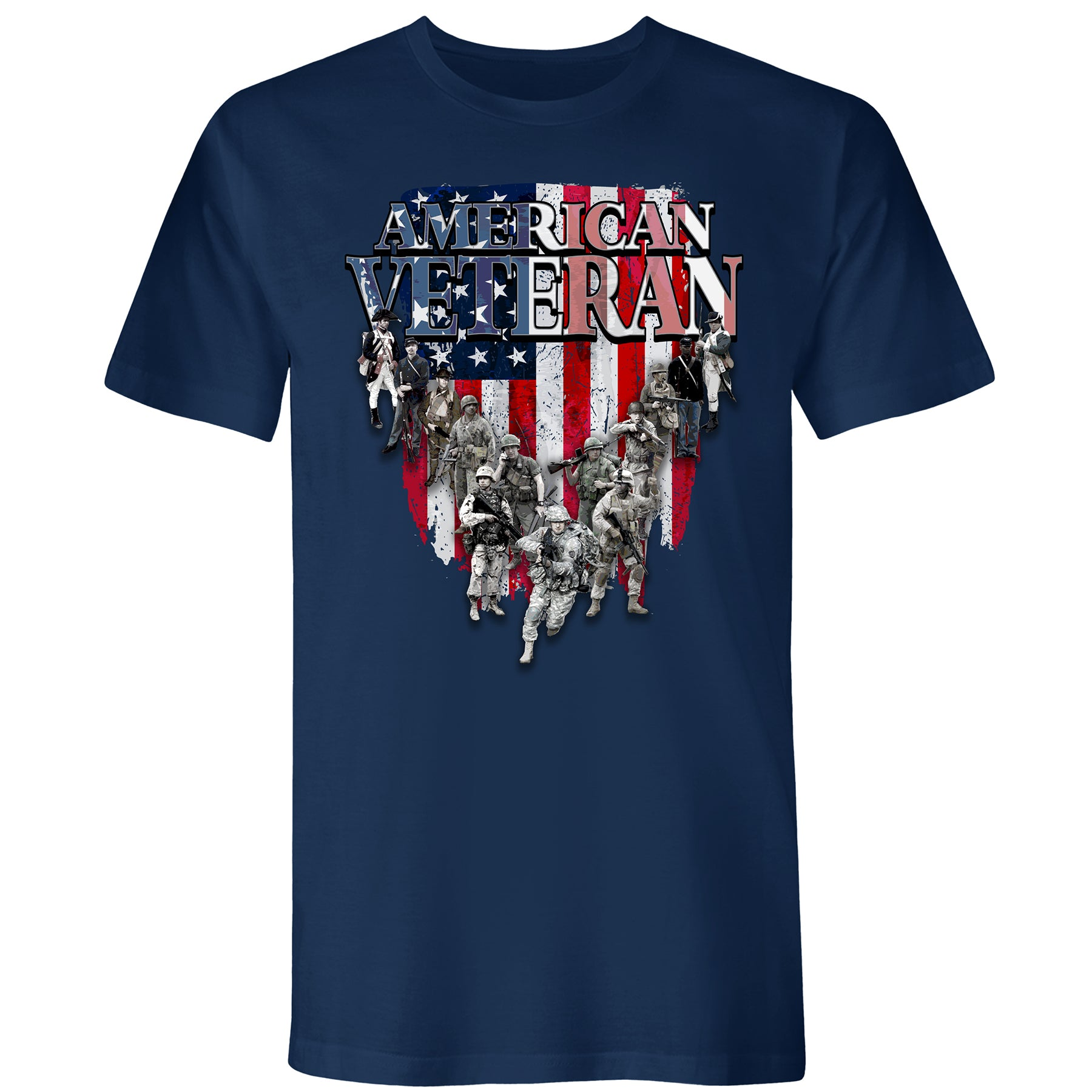 Mens American Veteran Tee Navy - the flag shirt