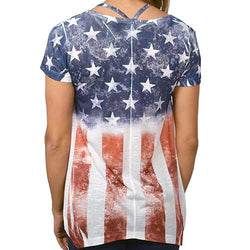 Womens American Flag with Rhinestones stars Shirt