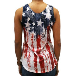 Ladies Vertical American Flag Tank - The Flag Shirt