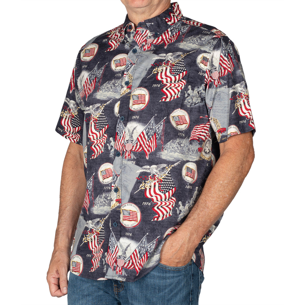 Men's Bicentennial 100% Cotton Button-Down Short Sleeve Shirt - the flag shirt
