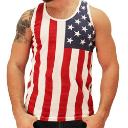 American Summer Vertical American Flag Mens Tank Top - The Flag Shirt