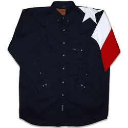 Mens Texas Flag Twill Shirt-Navy - The Flag Shirt