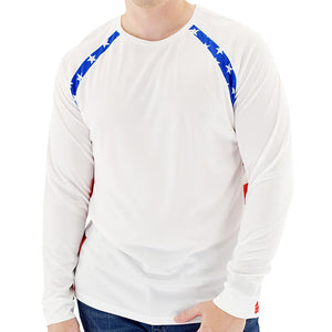 Mens USA Flag Long Sleeve Fish Panels Top - The Flag Shirt