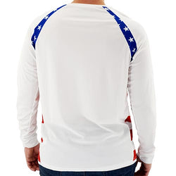 Mens USA Flag Long Sleeve Fish Panels Top