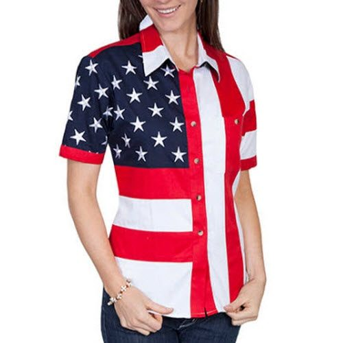 Short Sleeve Woven Full Flag and Stripes Womens Polo Shirt - The Flag Shirt