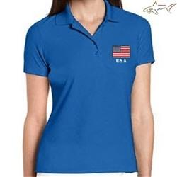 Ladies Greg Norman American Flag Performance Polo