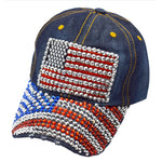 Load image into Gallery viewer, Rhinestone Denim Bling American Flag Hat - the flag shirt