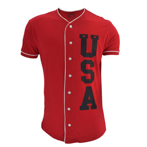 Red Baseball Tee with Black USA Letters - The Flag Shirt