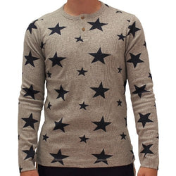Mens Grey with Stars Allover Long Sleeve T-Shirt - The Flag Shirt