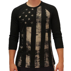 Mens Black Distressed Americana Flag  Three Quarters Sleeve  T-Shirt - The Flag Shirt