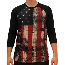 Mens Distressed Americana Flag  Three Quarters Sleeve  T-Shirt - The Flag Shirt