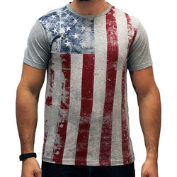 Mens Distressed Vertical American Flag T-Shirt - The Flag Shirt