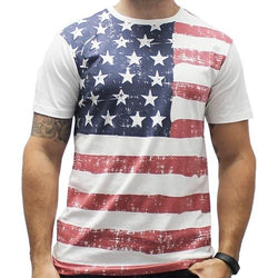 Mens White Abstract American Flag T-Shirt - The Flag Shirt
