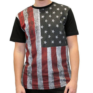 Mens Black Distressed Americana Flag T-Shirt - The Flag Shirt