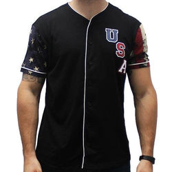 Mens USA Baseball Short Sleeve Shirt - The Flag Shirt