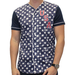 Mens USA Baseball Short Sleeve Shirt - Navy - The Flag Shirt