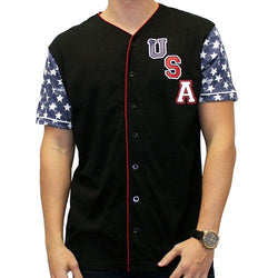 Mens USA Baseball Short Sleeve Shirt -Black - The Flag Shirt