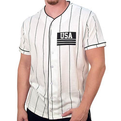 Mens USA Baseball Jersey Short Sleeve Shirt