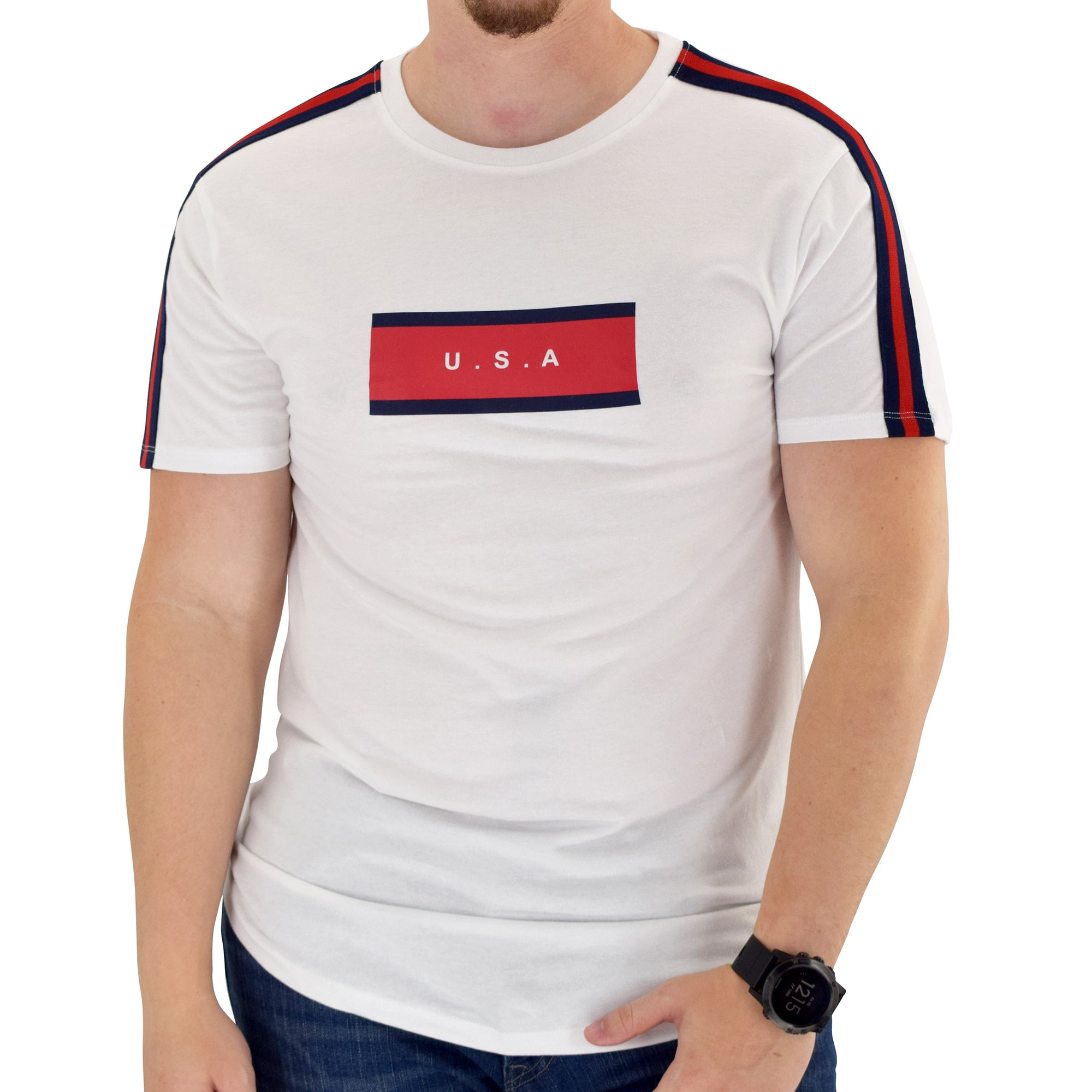 Mens USA Short Sleeve white T-Shirt - The Flag Shirt