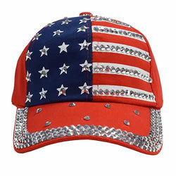 American Flag Hat With Rhinestones Front