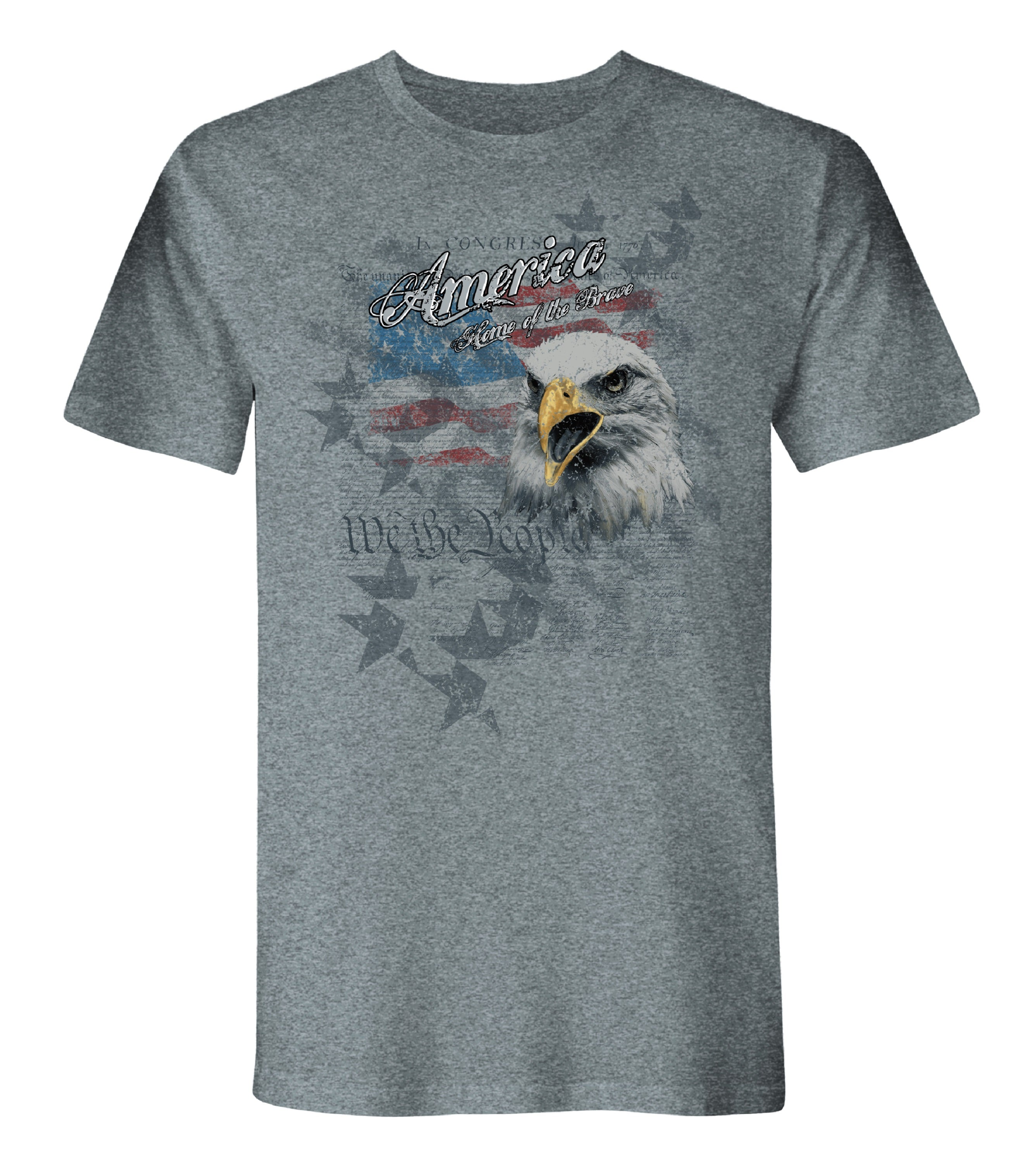 Collaged Home Of The Brave American Made Short Sleeve Tee - theflagshirt
