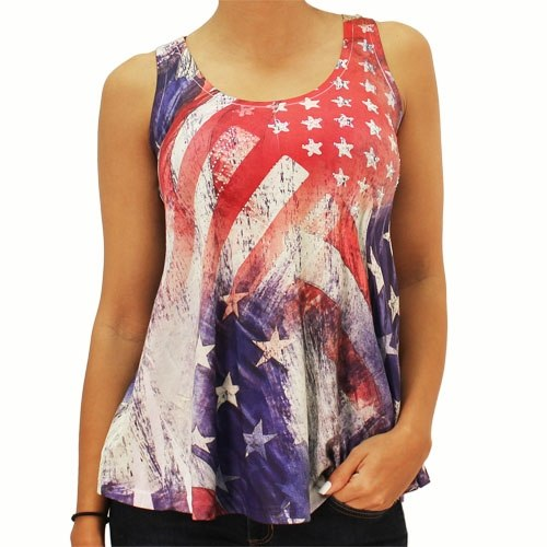 American Flag Tank Top Ladies Abstract Rhinestone