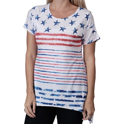 Flag Stars and Stripes Womens Top with Rhinestones