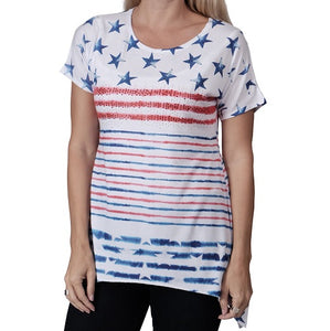 Flag Stars and Stripes Womens top with rhinestones - the flag shirt