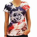 Ladies Patriotic Jeweled Stars V-Neck