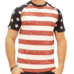 Mens Distressed Stars and Stripes T-Shirt