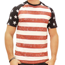 Mens Distressed Stars and Stripes T-Shirt - The Flag Shirt