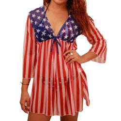 Stars Front Striped Back Cover Up for ladies - The Flag Shirt