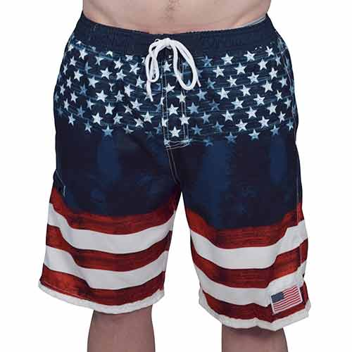 USA Mens American Flag Stripes Board Swim Shorts