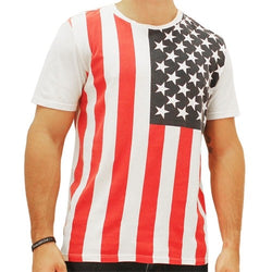 American Flag Vertical Mens T-Shirt Red White and Blue - The Flag Shirt