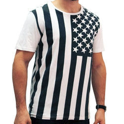 Chor Vertical American Flag Mens T-Shirt -Black and White - The Flag Shirt