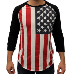 Mens American Flag Three Quarters Baseball Tee Crew Neck RWB - The Flag Shirt