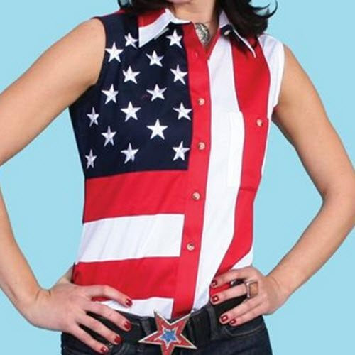 Scully Woven American Flag Sleeveless Womens Polo Shirt - The Flag Shirt
