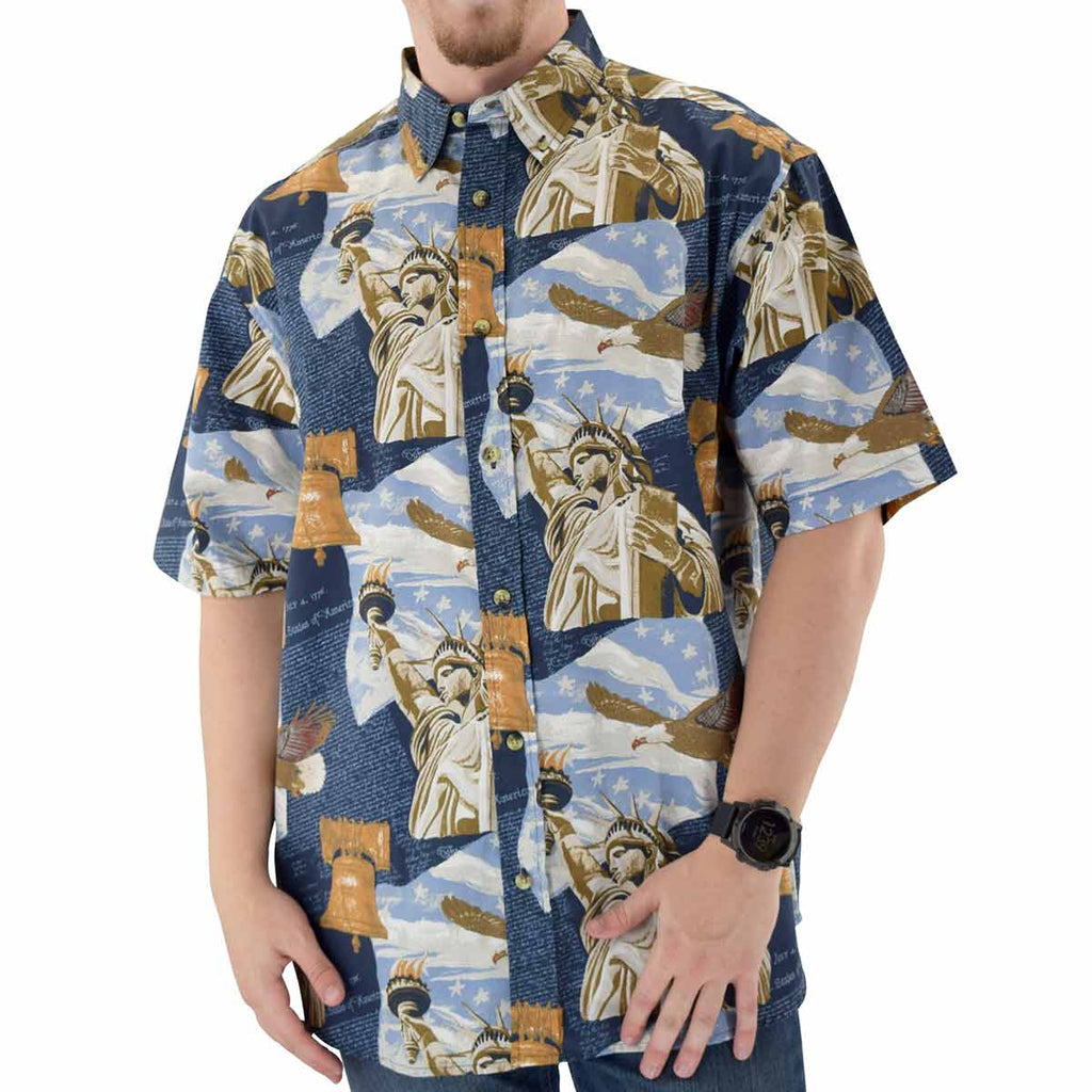 Men's Statue Allover Woven Button-Up Shirt - theflagshirt
