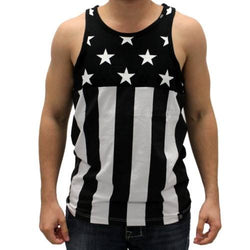 Mens Black and White Stars On Top Tank Top - The Flag Shirt
