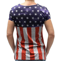 Ladies Stars and Stripes V Neck Tee - The Flag Shirt