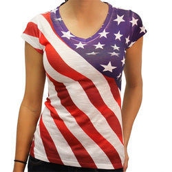 Diagonal Stars and Stripes V-Neck Tee - The Flag Shirt
