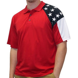 Mens Allegiance Freedom Tech Fabric Polo Shirt Red - The Flag Shirt
