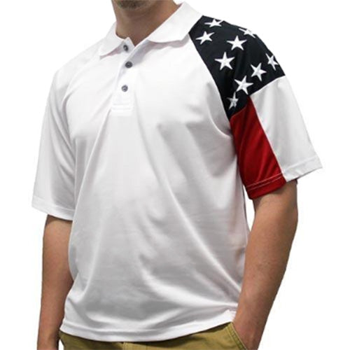 Mens Allegiance Freedom Tech Fabric Polo Shirt White - The Flag Shirt