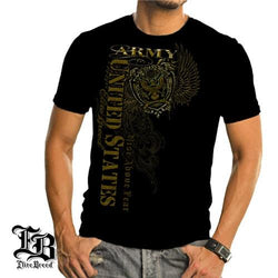 New Men/'s Army Crest Bottom Long Sleeve Black T Shirt US Military Graphic Tee