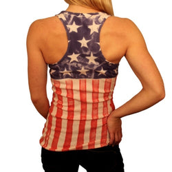 Juniors American Flag Special Dye Ribbed Tank Top - The Flag Shirt