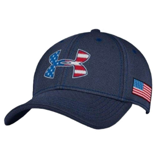 Patriotic Under Armour Stretch Fit Cap Navy  cc32271eb80
