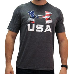 USA Flag Under Armour Logo  Performance T-Shirt (Grey) - The Flag Shirt
